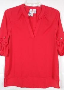 Society Girl red V-Neck blouse size Medium